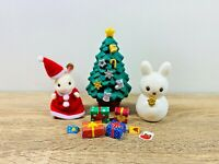 Sylvanian Families Christmas Set Tree Snowman Freya Chocolate Rabbit Santa Dress