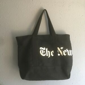 The New York Times Old English Logo Heavy Canvas Black Tote Bag