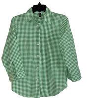 RALPH LAUREN Women's Small Green & White Plaid Button-Up Top 3/4 Length Sleeves