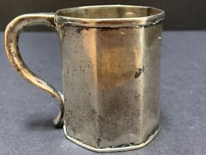 "G Boyce NY Coin Silver CUP Octagon 3"" Antique Monogram JL c1814-1857"