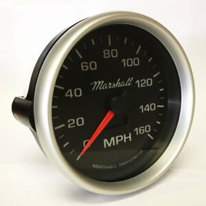 """Marshall 5"""" In Dash Electronic Speedometer, 0-160 MPH, Silver Bezel, 2054"""