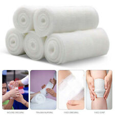 5 Rolls Disposable Gauze Bandage Roll Breathable Medical Bandages White UK Stock