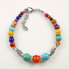 HOT Free shipping New Tibet silver multicolor jade turquoise bead bracelet S69