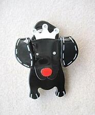 Quirky & Cute Black & White Lucite? & Crystal Dog Brooch