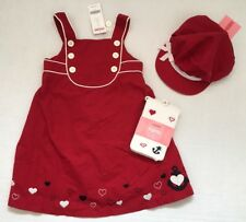 NWT Gymboree Bon Voyage 3 3T Red Heart Anchor Jumper Dress Puff Hat & Tights