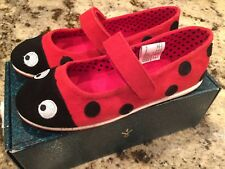 BNWB Emu Of Australia Big Girls Size 2 Red And Black Ladybug Velcro Shoe