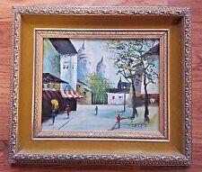 "Landscape Original Oil Painting On Board ""Momartre Paris"" by Steven-Signed"