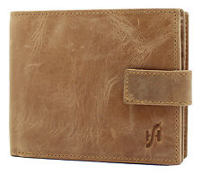 MENS RFID BLOCKING REAL LEATHER WALLET WITH LARGE ZIP COIN PURSE 1180 CRUNCH TAN