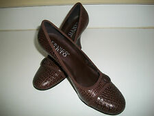 "Franco Sarto 10 M Brown Leather Croc Embossed Pumps 3.5"" Heels 3.5 Footbed"