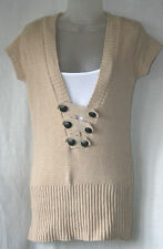 JANE NORMAN (UK12 / EU40) STONE CAP-SLEEVED JUMPER AND WHITE CAMISOLE