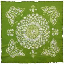 """BUTTERFLY Green Batik Handmade White Stitched Wall Hanging Art Tapestry 43""""x43"""""""