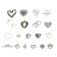 Zinklegierung Charms Anhänger für Halskette Herz Antiksilber Mix 19 Stück/Set