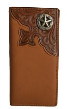 Western wallets for men Men's leather wallets Texas star long checkbook rustic