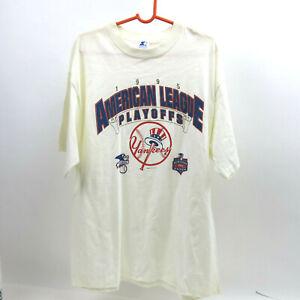 VTG 1995 New York Yankees American League Playoffs T-Shirt Starter Size XL White