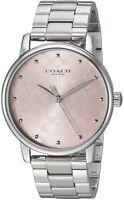 Coach Ladies Grand Stainless Steel Link Bracelet Pink Dial Watch 14503406