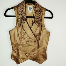 Esotica Pelle Women's Gold Leather Vest Size 8 Fur Collar
