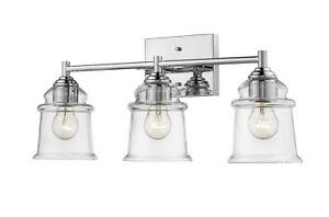 """3-Light Chrome Bathroom Light Fixture 22"""" W Mid-Century Modern Vanity Simple"""