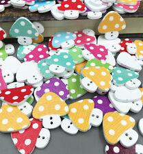 DIY 20PCS Craft 2 Hole Mixed Mushroom  Wooden Buttons Sewing Scrapbook 23mm