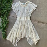 Anthropologie Leifnotes Dress • Cream Ivory Swiss Dot Gleam Sheer • Size 8