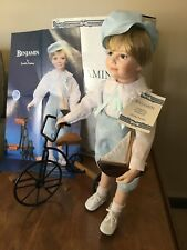 "NIB Bisque Porcelain 16"" Benjamin w/Sailboat & Tricycle(Hamilton Collection)"