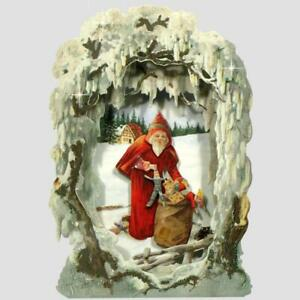 30 Pop-up Victorian Peepshow of Frosted Winter Scene Christmas Cards (EG)