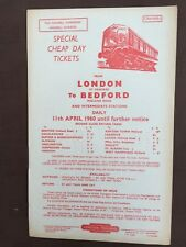 British Railways handbill Cheap day  tickets ST. PANCRAS to BEDFORD etc 1960