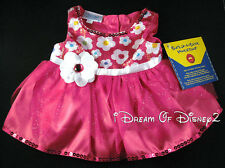 NEW Build-A-Bear FUCHSIA Pink Dress SPRING FLOWERS SEQUINS Teddy Size Clothes