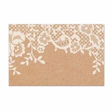 50x Kraft Lace Paper Craft Cards Cardstock 10x6.5CM Wedding Name Place Card