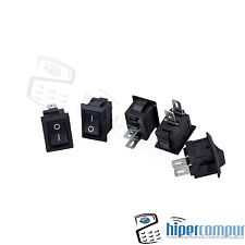 5x MINI interruptores NEGRO panel empotrable on / off boton 2 posiciones 220v 3A