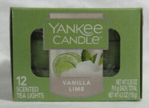 Yankee Candle 12 Scented Tea Light T/L Box Candles VANILLA LIME green 4-6 hrs