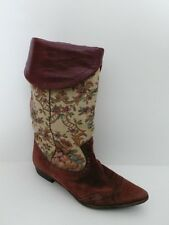 PETER FOX Woman's Tapestry Suede Foot Brown Leather Fold Over Boots Sz 8
