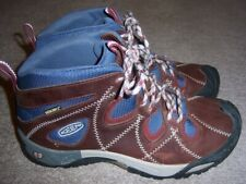 WOMEN 8 M KEEN DRY WATERPROOF MID HIKING BOOTS BLUE & BROWN EXCELLENT CONDITION