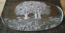 Walther Glas Sommerland Platte Servierplatte Stollen Kristall? Baum Bäume unbenu