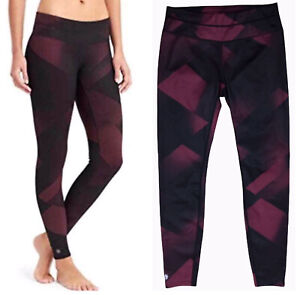 Athleta High Rise Sonar Magnetic Legging Burgundy Black Zippered Pocket Yoga M