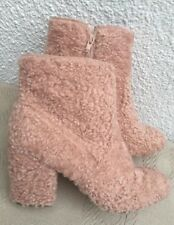 Primark Atmosphere Pink Ankle Chunky Heel Boots Woolly Winter Fur Size 6 EUR 39