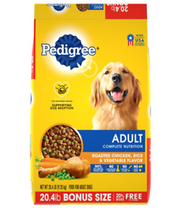 Roasted Chicken Rice & Vegetable Flavor Food for Adult Dogs Bonus Size 50 lb