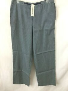 Alfred Dunner pants womens 20 navy white stripe casual pants NEW elastic waist