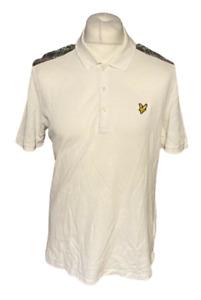 Men's Lyle & Scott Polo T Shirt White Tartan Large Short Sleeve