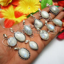 Rainbow Moonstone Gemstone 5pcs Pendant 925 Silver Overlay Wholesale Lot WH-1