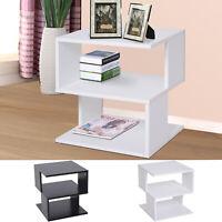Modern Square 2 Tier Wood Coffee Side Table Storage Shelf Rack Living Room