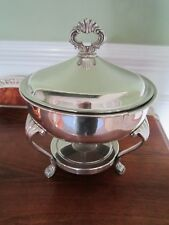Antique F B Rogers Silver Plate Covered Footed Dish for Hot Foods 3 piece