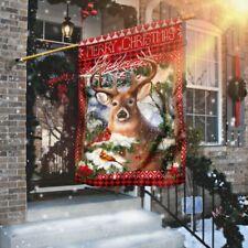 Deer Christmas Flag House Flag, Wall Flag, Garden Flag