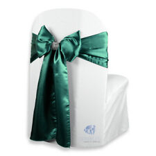 "Satin Chair Cover Bow Sash 108""x8"" - Hunter Green - w/ Bow Covers Wedding pn"