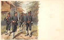 NETHERLANDS, SOLDIERS ON FOOT PATROL IN NATIVE VILLAGE, ARTIST IMAGE, c. 1902