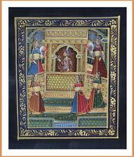 Original Moghul King and Queen Miniature Painting Natural Colors from India!