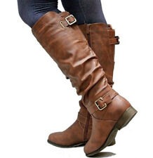 US Womens Winter Mid Calf Leather Flat Knee High Boots Ladies Riding Biker Shoes