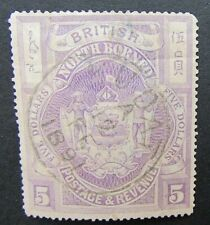 NORTH BORNEO - 1889 $5 BRIGHT PURPLE SG.149a - FINE VUDAT CDS - DECENT FILLER
