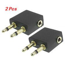 2 pcs Flight Audio Adapter 3.5mm Airplane Socket Headphone Converter Plug Jack