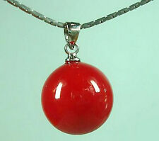 14mm Red Coral Color Shell Pearl Bead Pendant and Necklace