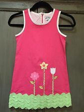 Hartstrings Girls Pink Green Flower Embroidered Appliqué Ric Rac Dress 7 6?